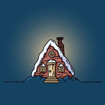 Nachtwinterwaldszenen-kabinenblock-flache illustration