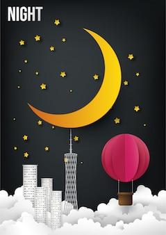 Nachtzeit, grafische digitale handwerksart.