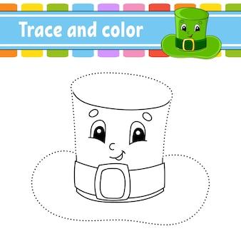 Nachzeichnen und colorieren. malvorlagen für kinder. st. patrick's day.