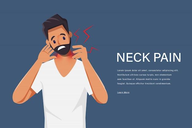 Nackenschmerzen des jungen mannes, die erschöpften charakter fühlen. schmerzen im nacken. medizinisches zentrum gesundheitswesen.