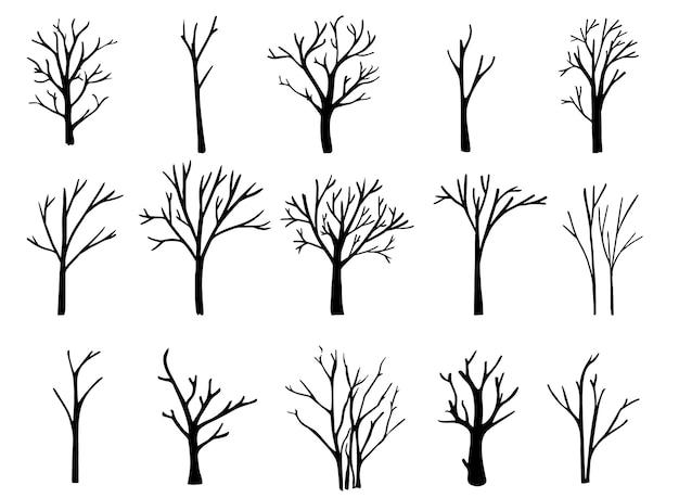 Nackte bäume silhouetten eingestellt. handgezeichnete isolierte illustrationen
