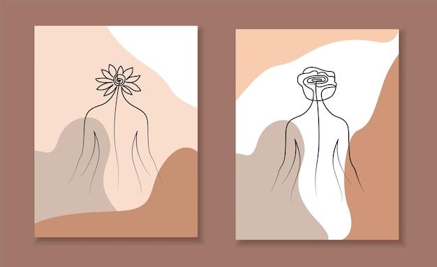 Nackte frau, die eine linie zurücklehnt, minimaler frauenkörper, eine strichzeichnung, posterhüllen