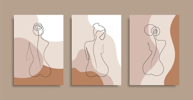 Nackte frau sitzt eine zeile zurück. plakatabdeckungen. minimaler frauenkörper. eine strichzeichnung. lager .