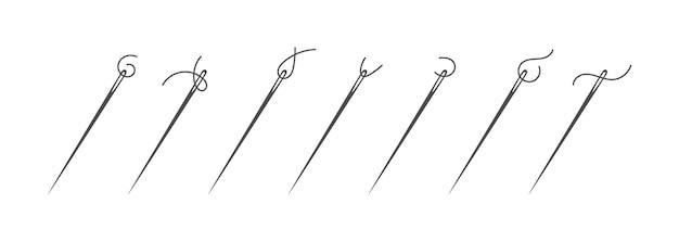 Nadel und faden silhouette icon set vector illustration. schneiderlogo mit nadelsymbol