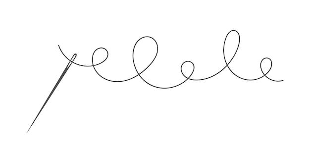 Nadel und faden silhouette symbol vektor illustration schneider logo mit nadelsymbol und kurvig