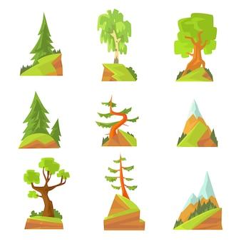 Nadel- und laubbäume setzen. naturlandschaft mit verschiedenen bäumen bunte illustrationen