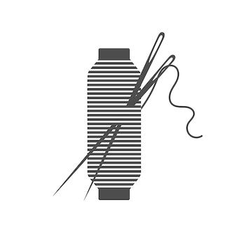 Nadel und spule silhouette symbol vektor-illustration schwarze spule silhouette mit umrissnadel und