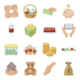 Nächstenliebe und gesetzte ikone der spendenkarikatur. freiwillige nächstenliebe lokalisierte gesetzte ikone der karikatur. illustration humanitäre spenden.