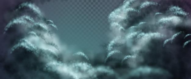 Nächtliche dramatische landschaft mit transparenten cumuluswolken