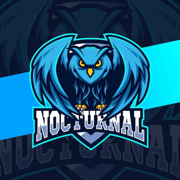 Nächtliche eule vogel maskottchen esport logo design