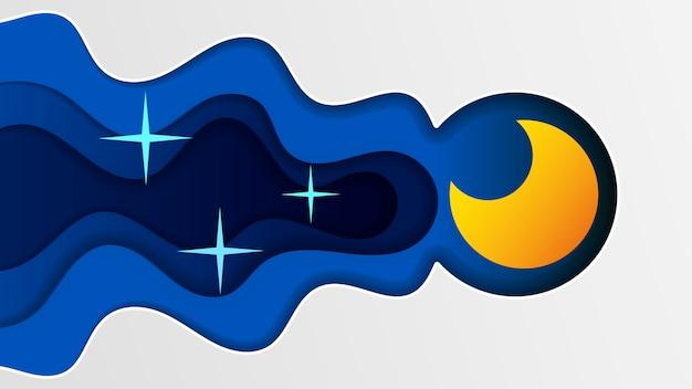 Nächtlicher himmel art design moon star-papierkarikatur-schlaf-illustrations-hintergrund-grafik-wolken-natur