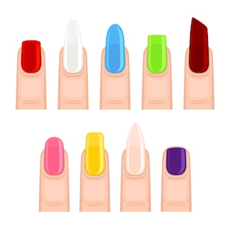 Nägel nach maniküre in verschiedenen formen und farben. illustration auf weißem hintergrund.