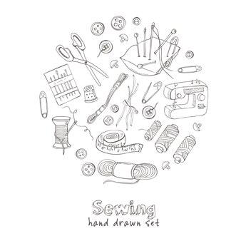 Näh- und strickwerkzeuge von hand gezeichnet