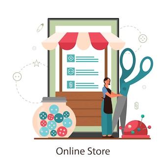 Näherin oder schneider online-shop. professioneller meister beim nähen von kleidung.