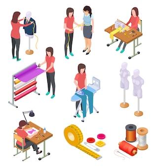 Nähfabrik isometrischer satz. textilbekleidungsherstellung mit arbeitern und maschinen. industrielle nähende ansammlung 3d