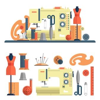 Nähmaschine und zubehör für schneiderei und handgemachte mode. vektorsatz elemente und lokalisierte gestaltungselemente in der flachen art. nadeln und schaufensterpuppe.