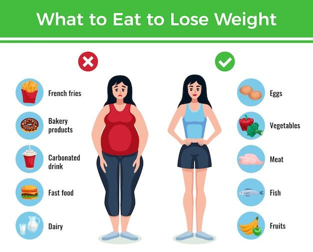 Nähren sie infographics plan mit informationen über was zu essen, um gewichtkarikaturillustration zu verlieren und zu gewinnen