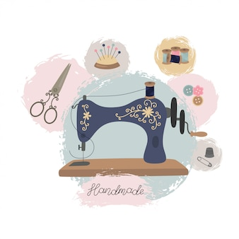 Nähwerkstatt oder schneiderei. hand gezeichnete nähmaschine der weinlese.