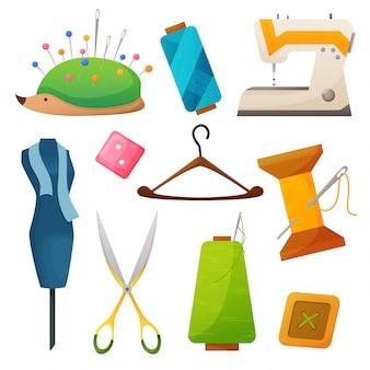 Nähwerkzeuge. kit für handarbeiten und stickereien. illustration mit nadel, faden, schere, knöpfen, stift, spule. hobbyzubehör. schneiderei mode pin handwerk handarbeiten. illustration
