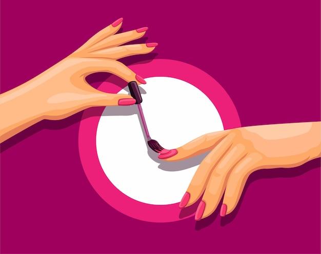 Nagelkunstfingerhand mit manikürepolitur im cartoon
