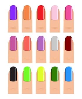 Nagellack in verschiedenen farbtönen.