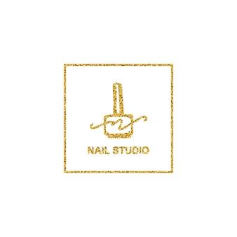 Nagellack-logo mit goldener glitzer-textur im trendigen minimalistischen linearen stil. logo für einen schönheitssalon oder eine maniküre. vorlage für die verpackung von nagellack, nagel, seife, schönheitssalon.