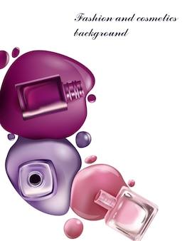 Nagellack schönheits- und kosmetikhintergrund verwenden sie für werbeflyer-banner-broschüre vector