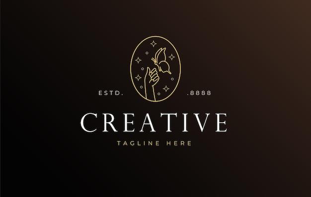 Nagellackschmetterling thront auf handlogo-design-icon-vorlage