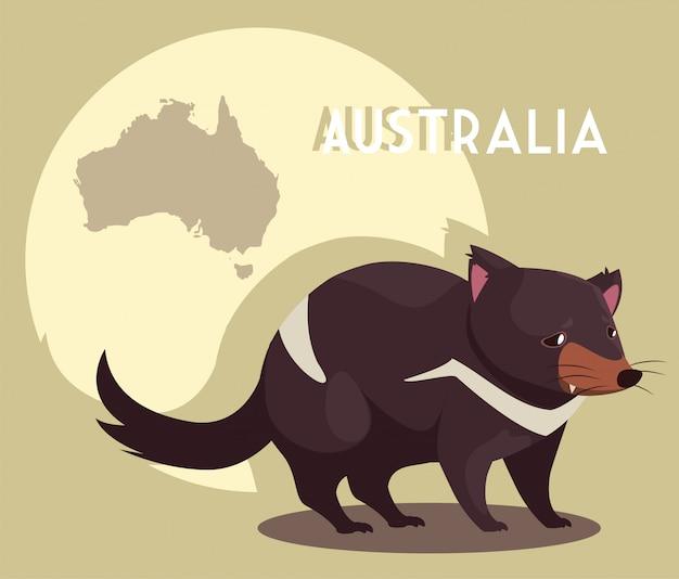 Nagetier mit karte von australien