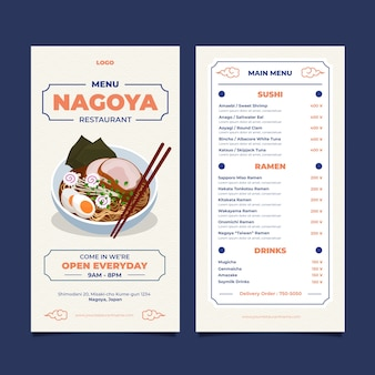 Nagoya restaurant menüvorlage