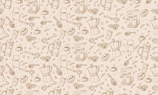 Nah gezeichnete handgezeichnete kaffeeausrüstung des hintergrunds