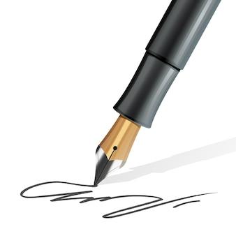 Nahaufnahme auf dem füllfederhalter, der eine unterzeichnung realistisch schreibt