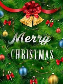 Nahaufnahme betrachten weihnachtsbaum und schöne dekorationen