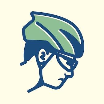 Nahaufnahme der vintage-designlinie für fahrradfahrer, perfekt für logo, symbol, druck usw