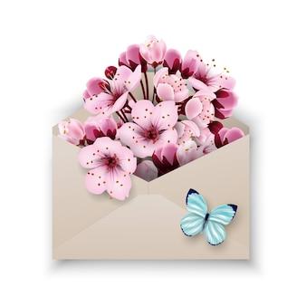 Nahaufnahme eines geöffneten bastelpapierumschlags voller frühlingsblütenblumen vektorvorlage
