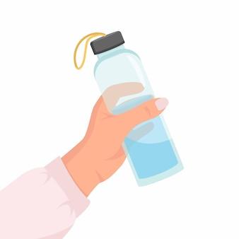 Nahaufnahme frau, die eine wiederverwendbare wasserflasche hält weltumwelttag und tag der erde konzept glasflasche mit wasser in der hand der frau zero waste flat illustration