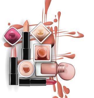 Nahaufnahme von nagellack mit tropfen nagellack in hellen pastelltönen mit lippenstift auf weißem hintergrund. perfekt für werbebanner, broschüren, zeitschriften. vektorvorlage