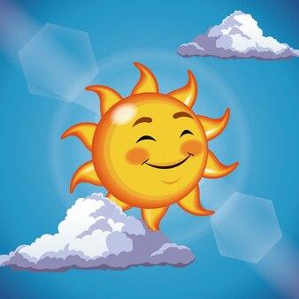 Nahe augen des netten gesichtes der charaktersonne - karikatur im blauen himmel