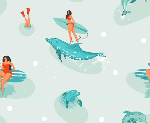 Nahes muster der hand gezeichneten abstrakten niedlichen sommerzeitkarikaturillustrationen der aktie mit surfbrettmädchen und -delfinen im blauen ozeanwasserhintergrund.