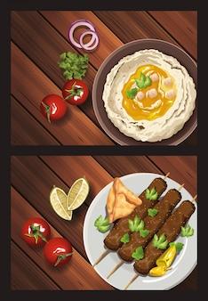 Nahöstliches essen in der holztabellenillustration
