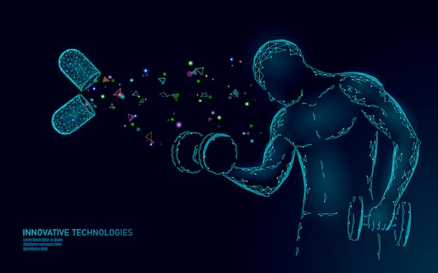 Nahrungsergänzungsmittel vitamin bodybuilding kapsel. fitnessform arzneimittelmedizin wissenschaft chemie innovationstechnologie polygonaler 3d-render. muskelkraft erhöhen hantelillustration