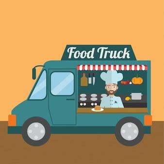 Nahrungsmittel-lkw-hintergrund-design