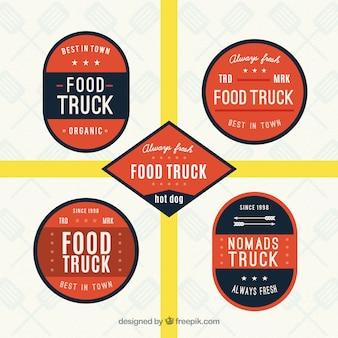 Nahrungsmittel-lkw-logos im retro-stil