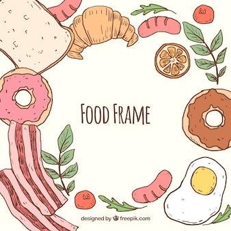 Nahrungsmittelrahmen mit hand gezeichneter art