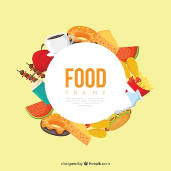 Nahrungsmittelrahmen mit verschiedenen aliments