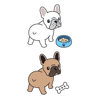 Nahrungsmittelschüssel-knochenkarikatur der französischen bulldogge