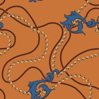 Nahtlos gefärbt von ketten und barockelementen. elemente des musters befinden sich in einer vom hintergrund getrennten gruppe.