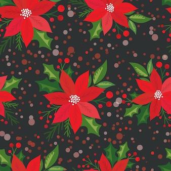 Nahtlos mit holly leaf und weihnachtsstern