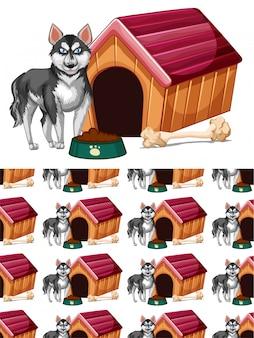 Nahtlos mit hund und hundehütte