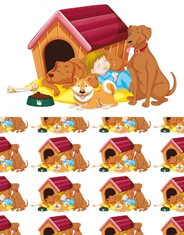 Nahtlos mit mädchen und hunden